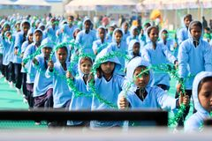 在第29个国际风筝节日的Opning仪式2018年-印度 免版税库存图片