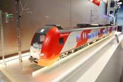 在第12全俄国陈列的火车模型 免版税库存照片