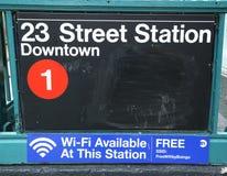 在第23条街道的地铁入口在NYC 免版税库存照片