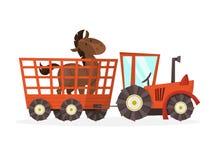 在笼子的马身分在拖拉机 农场 皇族释放例证