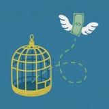 在笼子鸟外面的金钱飞行 免版税库存照片
