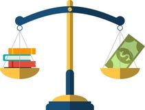 在等级的金钱和书平衡 登记概念教育查出的老 免版税库存照片
