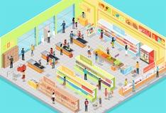 在等角投影的超级市场内部 3d 皇族释放例证