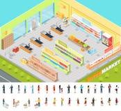 在等角投影的超级市场内部 3d 向量例证