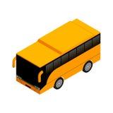 在等角投影的黄色公共汽车 平的样式传染媒介illustrati 免版税库存图片