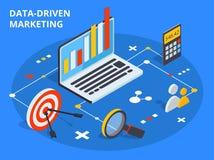 在等量设计的数据驱动营销概念 商业增长 皇族释放例证