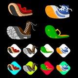 在等量3d样式设置的鞋子象 人鞋子设置了汇集 免版税库存图片