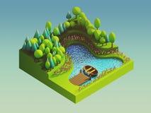 在等轴测图的绿土概念 图库摄影
