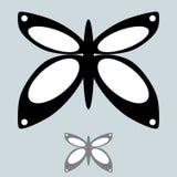 在简单的样式的黑和灰色蝴蝶 免版税图库摄影