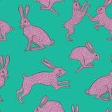 在简单的绿色/蓝色背景的桃红色古怪的兔子重复样式 向量例证