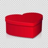 在简单的背景的红色心形的礼物盒 免版税图库摄影
