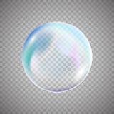 在简单的背景的透明五颜六色的肥皂泡 库存照片