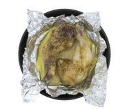 在箔烘烤的鸡 免版税库存图片