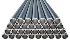 在管子的钢金属外形塑造-产业概念 免版税库存照片