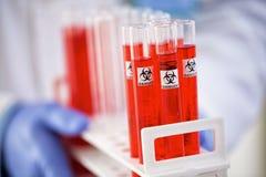 在管的危险毒性化学制品 免版税库存图片