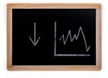在箭头和价值图下在一个黑板在白色背景 免版税图库摄影