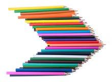 在箭头形状的五颜六色的铅笔  库存图片
