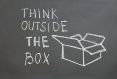 在箱子之外认为 免版税库存照片