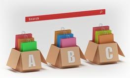 在箱子和红色查寻按钮3d翻译的购物带来 库存例证