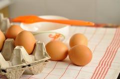 在箱子和蛋黄的未加工的鸡蛋在板材用香料和橙色刷子 库存图片