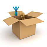 在箱子概念, 3d站立与胳膊的商人之外认为大开在白色的被打开的纸板箱顶部 免版税图库摄影