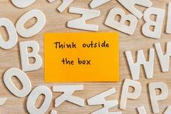 在箱子独特的概念之外认为 图库摄影