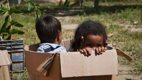 在箱子的孩子 库存照片