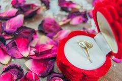 在箱子的定婚戒指 库存照片