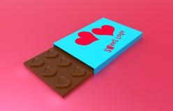在箱子的巧克力有红色心脏的 库存照片
