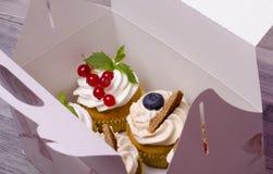 在箱子的新鲜的杯形蛋糕 免版税库存照片