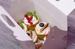 在箱子的新鲜的杯形蛋糕 免版税图库摄影