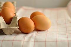 在箱子的未加工的鸡蛋 免版税库存图片
