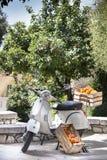 在箱子的桔子 古老意大利摩托车 绿色橙树在背景中 免版税库存照片