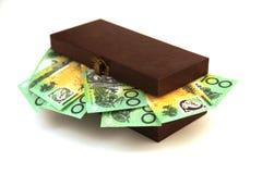 在箱子的澳大利亚金钱 库存照片
