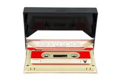 在箱子的葡萄酒录音磁带在白色背景 库存照片