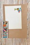 在箱子的集合淡色铅笔 图库摄影