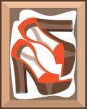 在箱子的鞋子 免版税库存照片