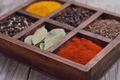 在箱子的香料:小茴香,胡椒,月桂树,咖喱,辣椒粉,辣椒 免版税库存图片