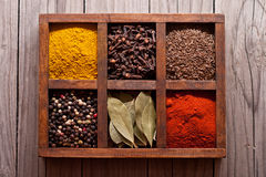 在箱子的香料:小茴香,胡椒,月桂树,咖喱,辣椒粉,辣椒 图库摄影