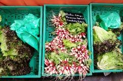 在箱子,法国市场传统l,法国的新鲜蔬菜 免版税库存照片