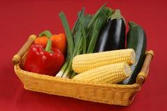 在篮子的可口和健康蔬菜 免版税图库摄影