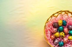 在篮子的复活节五颜六色的鹌鹑蛋 图库摄影