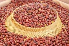 在篮子的干cajanus canjan豆种子纹理背景的,豆科巨大的小组 免版税库存图片