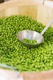 在篮子的新鲜的宽松豌豆 免版税库存照片