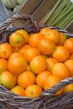 在篮子的新鲜的桔子 免版税库存照片