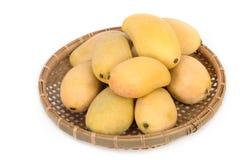 在篮子的新鲜的芒果 库存图片