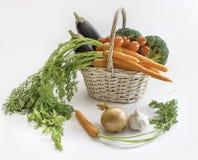 在篮子的新鲜蔬菜:茄子,红萝卜,硬花甘蓝和 图库摄影