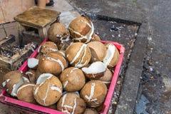 在篮子的椰子 库存图片