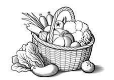 在篮子的蔬菜 皇族释放例证