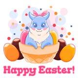 在篮子的逗人喜爱的复活节兔子与甜点和朱古力蛋 五彩纸屑 春天假日 也corel凹道例证向量 库存图片